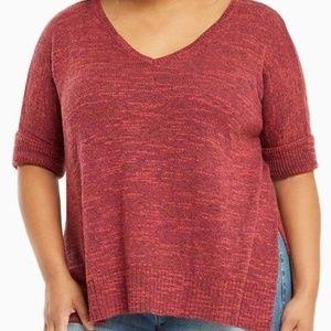 Torrid 1X 5X Sweater Pullover Red Marl Split Hem